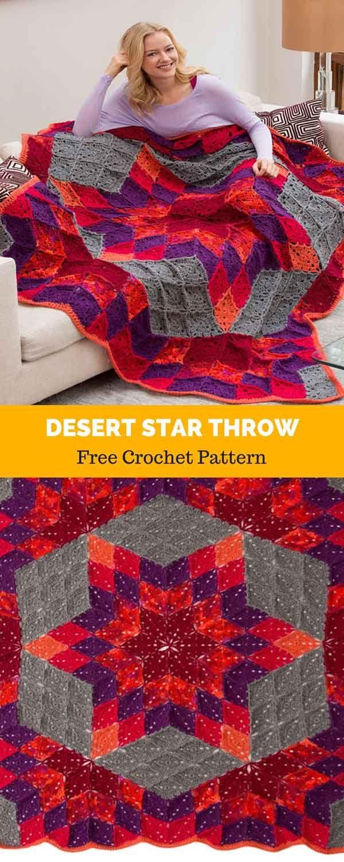 Desert Star Throw [ FREE CROCHET PATTERN