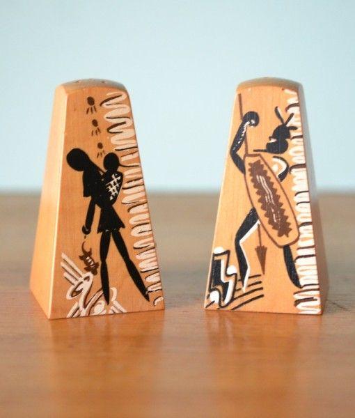 Vintage mid century Aboriginal salt and pepper shakers
