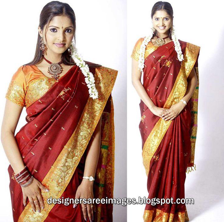 Actress Sanchita Padukone in Maroon Silk Saree