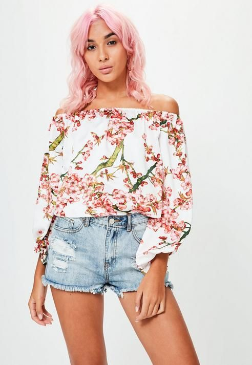 527ae41c83481f Missguided White Floral Print Bardot Top