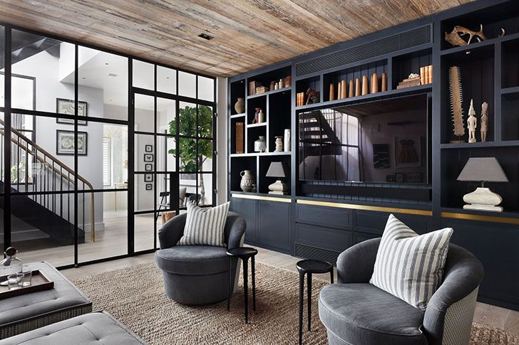 The Second Light And Sophisticated Style Private House In London Photos Ideas Design Living Room Built Ins Modern Tv Room Basement House Plans