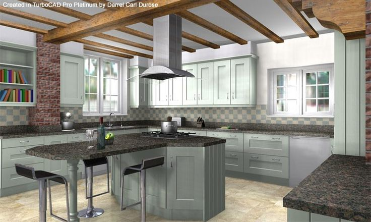 Wilford Painted Kitchen - Designed and rendered by Darrel Carl Durose in TurboCAD Pro Platinum | #CAD #Software, #Design, #Drafting, #Rendering, #3D #Model, #Home #Design, #Floorplan, #House #Design, #Kitchen