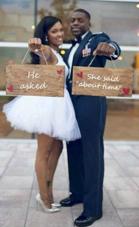 Engagement sign, Engagement photo prop, Engagement signs, -- He asked She said about time ENGAGEMENT by ThePeculiarPelican