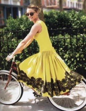 I love the colour & detail of the dress,...the retro bike I want!!!