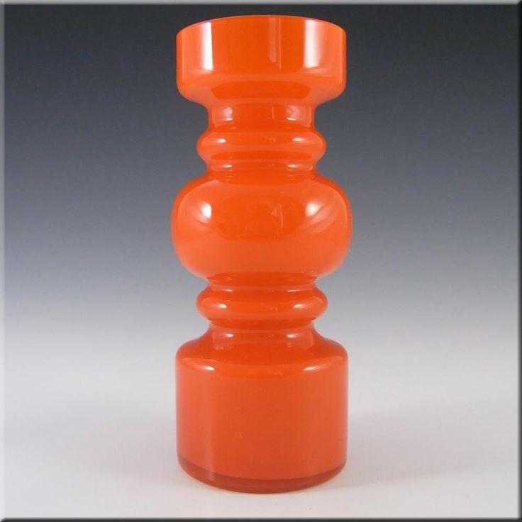 Lindshammar 1970's Swedish Orange Hooped Glass Vase - £80.00