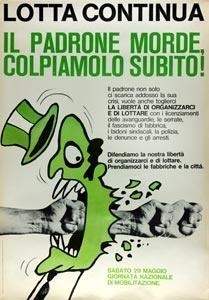"""""""Il padrone morde"""" di Buonfino per Lotta Continua in occasione della giornata nazionale di mobilitazione."""