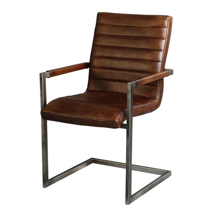 Leren eetkamerstoel stoelen pinterest for Eettafel stoelen cognac