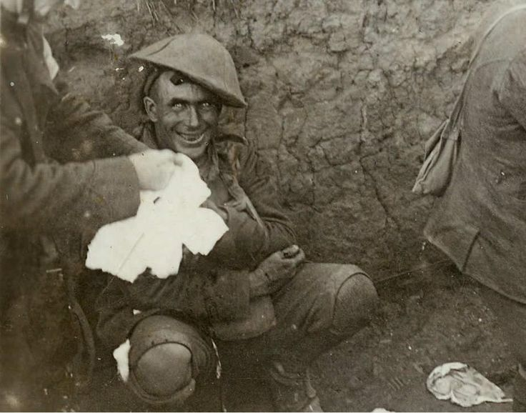 """A Shell Shocked soldier in a trench during the Battle of Courcelette in mid-September 1916. It has been described as a reaction to the intensity of the bombardment and fighting that produced a helplessness appearing variously as panic, or flight, an inability to reason, sleep, walk or talk. """"Simply put, after even the most obedient soldier had enough shells rain down on him, without any means of fighting back, he often lost all self control."""""""
