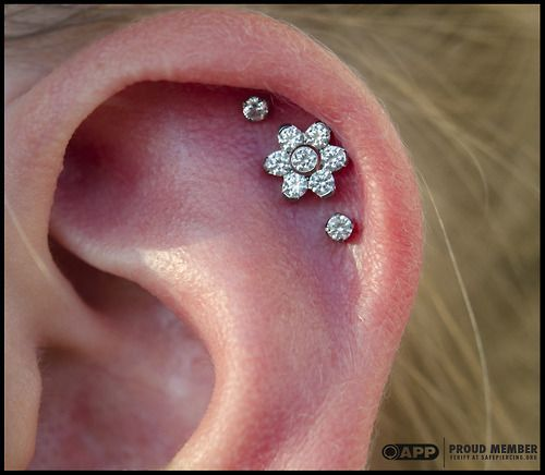 Triple Helix Piercing on Pinterest | Triple Helix, Double Helix ...