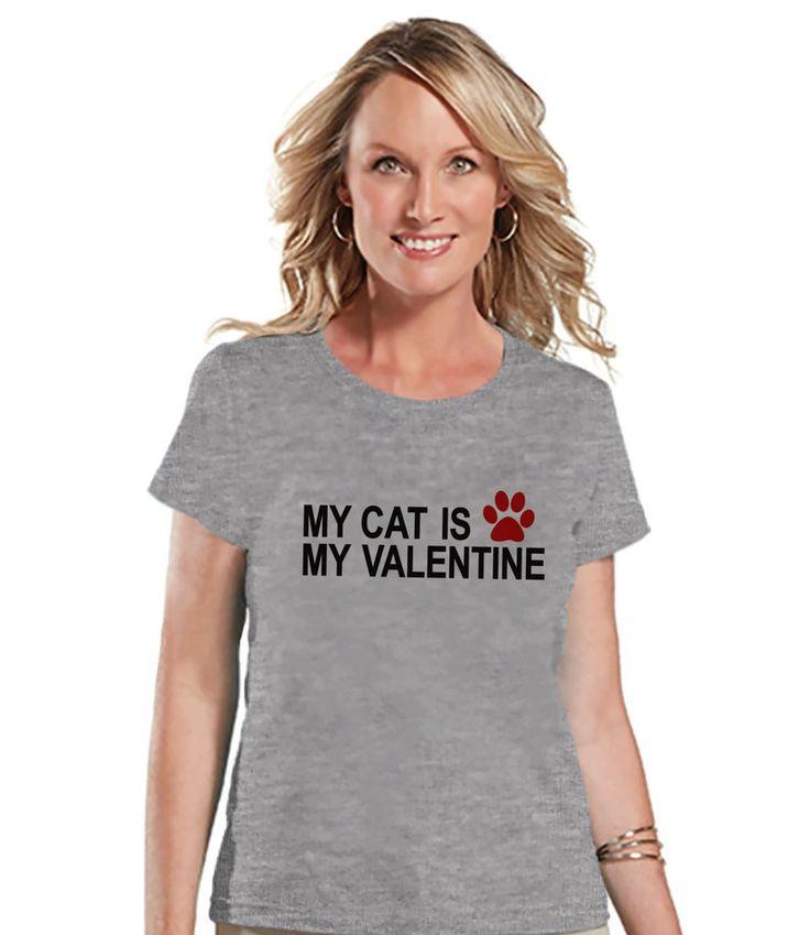 Ladies Valentine Shirt - Funny Cat Valentine Shirt - Womens Happy Valentines Day Shirt - Funny Anti Valentines Gift for Her - Grey T-shirt