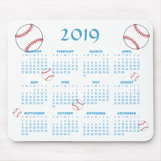 Baseball Calendar 2019 Red White Blue Baseball 2019 Sports Calendar Mouse Pad | Zazzle