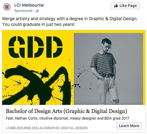 Facebook Ad for Graphic and Digital Design Degree