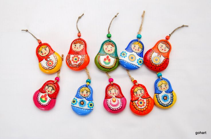Zimna porcelana, folk art, russian dolls, matrioszka, breloczek zawieszka, laleczki ludowe, gohart