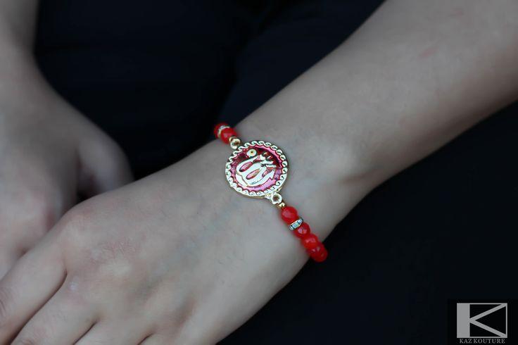 "KAZ KOUTURE: Red Allah ""God"" Bracelet Round #kazkouture #fashion #bracelet #jewelry #accessories #armcandy #princess #fashionista #turkish #arabiccalligraphy #muslimfashion #abaya #hijabi #hijab #arabfashion #scarf #muslim"