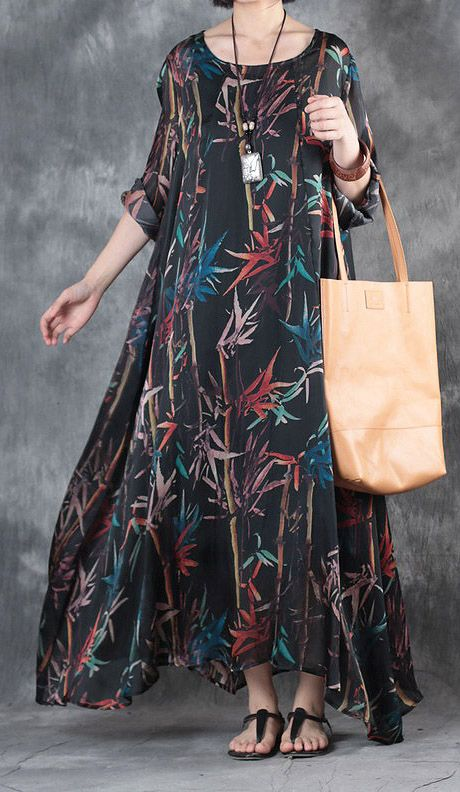 women black silk maxi dress oversized prints traveling clothing New big hem caftans