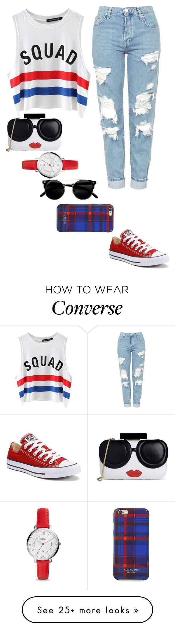 """Blue & Red Casual"" by harrariz on Polyvore featuring Chicnova Fashion, Topshop, Alice + Olivia, FOSSIL, Isaac Mizrahi and Converse"