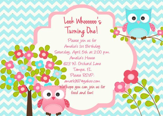 Items similar to Owl Birthday Party Invitation -  Owl Invitation - Personalized - DIY Printing - Chevron on Etsy