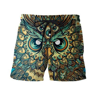 Newest Style Mens Casual Short Pants Vintage Religion Owl Prints 3D Shorts Male Hipster Beach Shorts Hip Hop Board Shorts