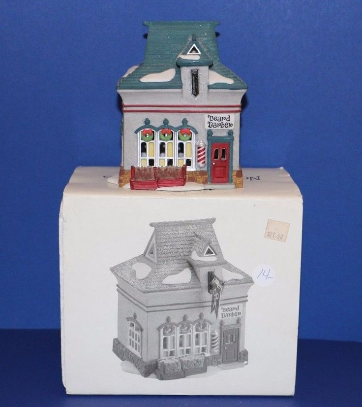 Dept. 56 North Pole Village Beard Barber Shop (no sign) w/ new light #56340