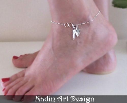 Silber Fußkette mit Anhängern - Feder und Blatt von NadinArtDesign auf DaWanda.com