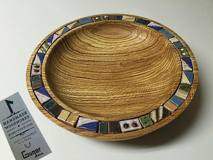 The oak dish with ceramic border!
