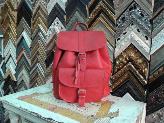 Handmade Red Leather Backpack LARGE one pocket by MagusLeather