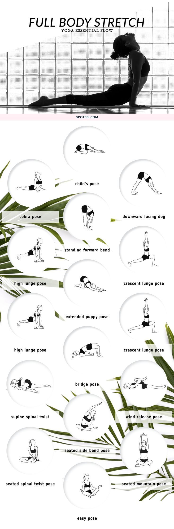 Improve your range of motion, increase circulation, and calm your mind with this 10 minute full body stretching flow. The following yoga poses target your tightest muscles, ensuring an amazing total body stretch!