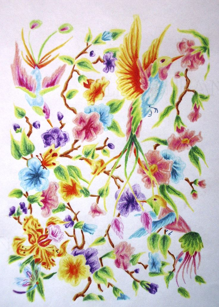 Bright colored floral and birds.