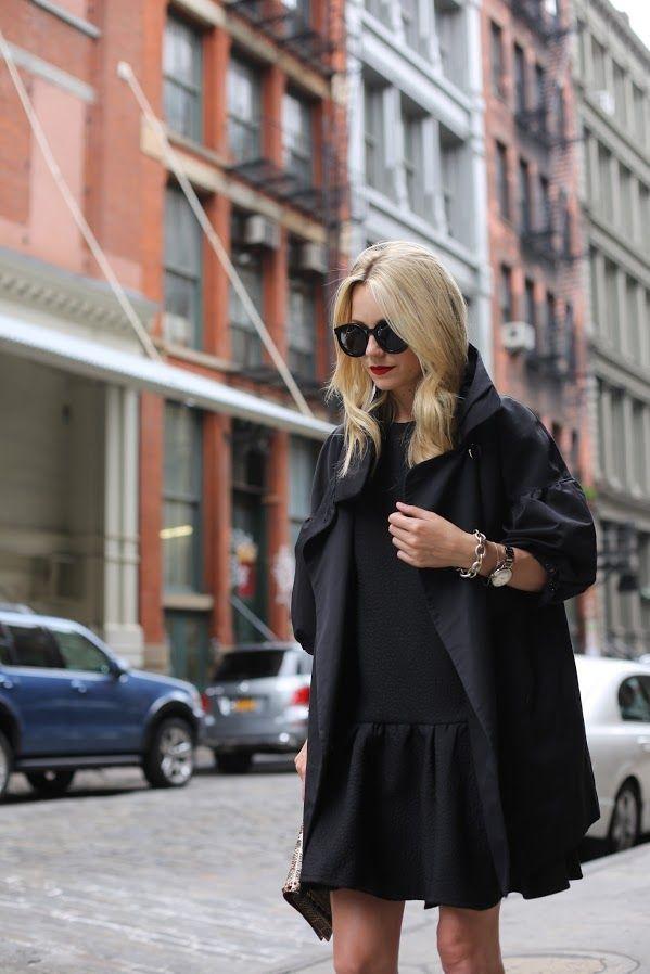 Atlantic-Pacific: early am in soho. black jacket. black dress. NYC Fall Chic