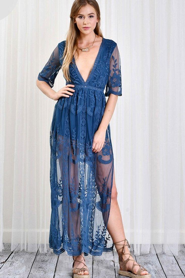 Gemma Lace Maxi Dress - Teal