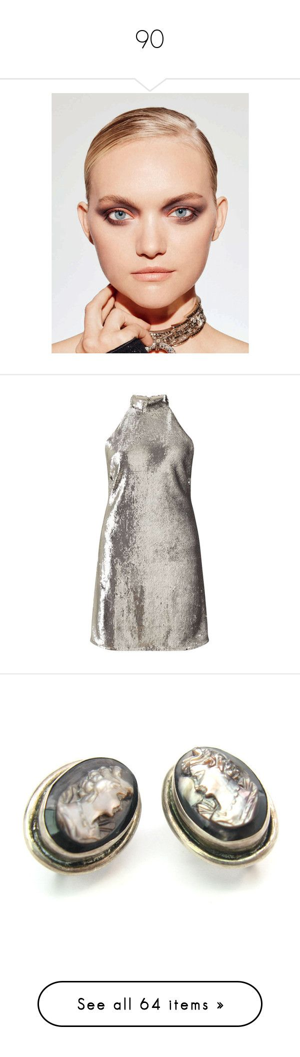 """""""90"""" by pocahaunted666 ❤ liked on Polyvore featuring dresses, miss selfridge, short dresses, silver metal, short white dresses, white sequin dress, mini dress, silver cocktail dress, sequin mini dress and jewelry"""