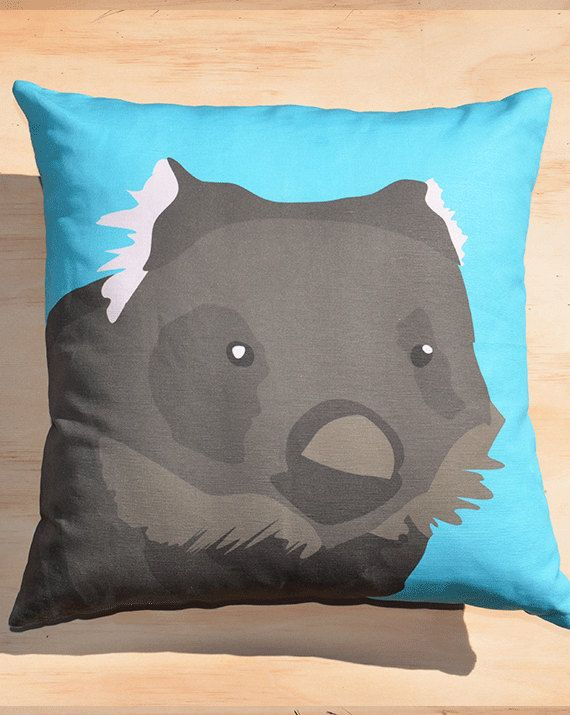 Bare-nosed Wombat 18inch (45 x 45cm) cushion cover on Etsy, $63.17