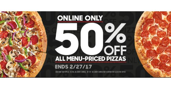 Pizza Hut Get 50% off Your Order-No Coupon Necessary Order Online!