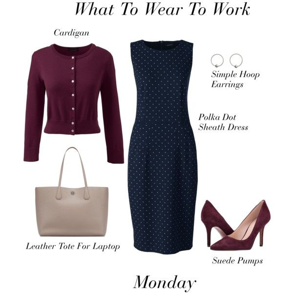 What To Wear To Work: Monday by stylebyjonathan on Polyvore featuring Lands' End, Nine West, Tory Burch and plus size dresses