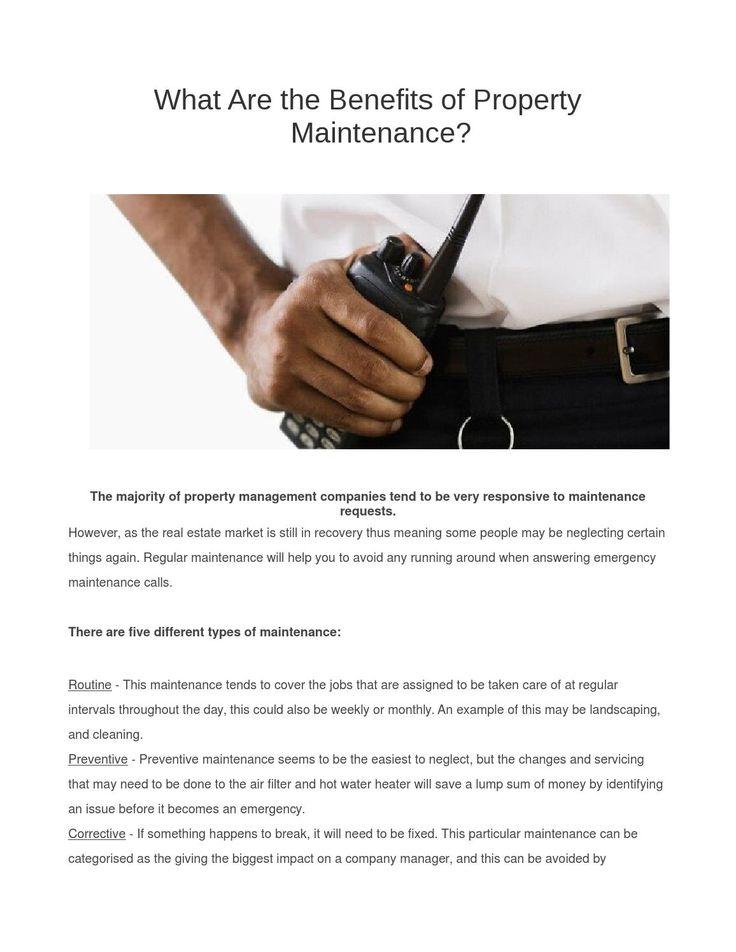 Benefits of property maintenance