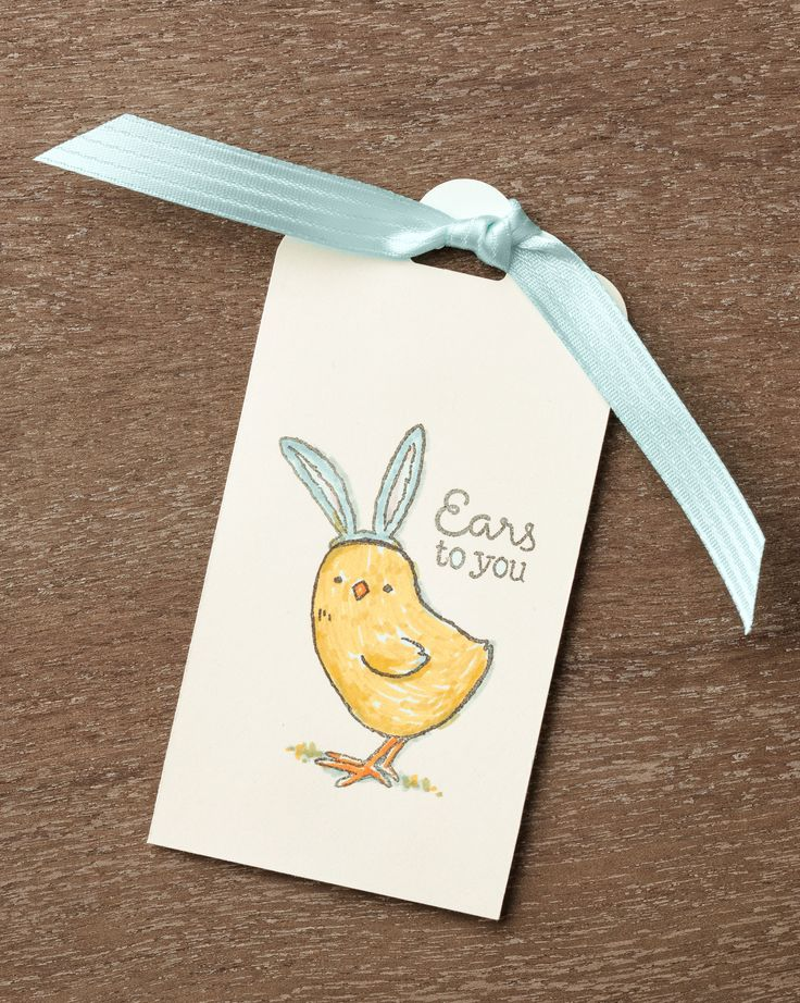 There are few things cuter than a baby chick wearing bunny ears. You can make this tag using the Little Cuties stamp set. #stampinup #OccasionsMini2017