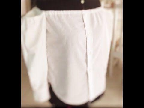 Camisa ombro a ombro com elástico | Transformação de Camisa masculina Slim
