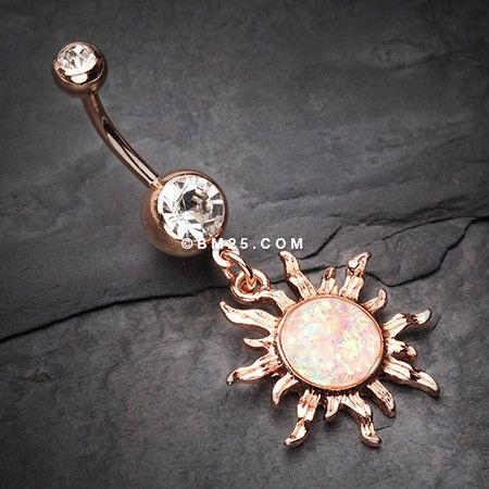 Rose Gold Blazing Sun Opal Sparkle Belly Button Ring