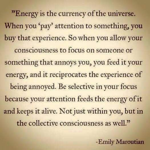 Energy is the currency of the universe. When you 'pay' attention to something, you buy that experience. So when you allow your consciousness to focus on someone or something that annoys you, you feed it your energy, and it reciprocates the experience of being annoyed. Be selective in your focus.