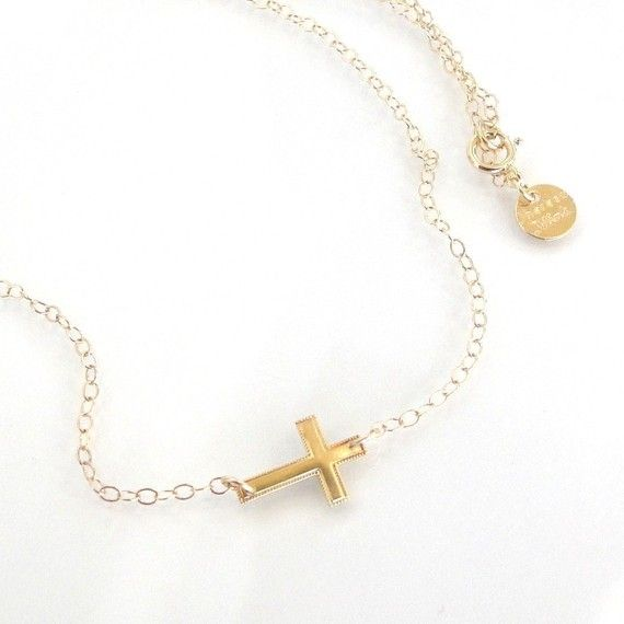 Tiny SOLID Gold Sideways Cross Necklace  14K by classicdesigns, $99.00