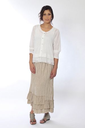 The Cupboard's translation of elegant and practical is Marylou, our linen knit cardy worn with the Coco linen ruffle hem skirt. The ultimate in casual gone glam.