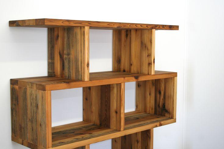 Bibliothèque caisson en bois de grange
