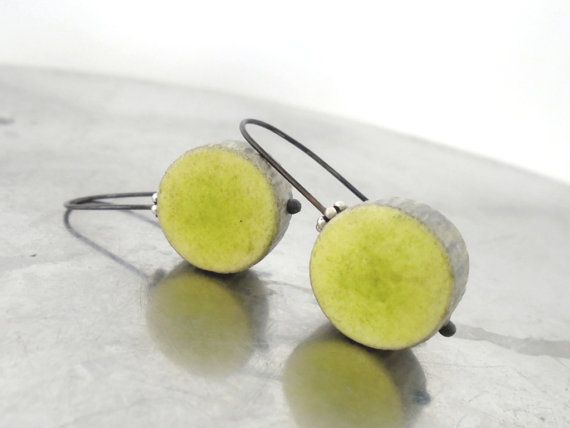 Green chartreuse and grey clay earrings by AntigoniCreations