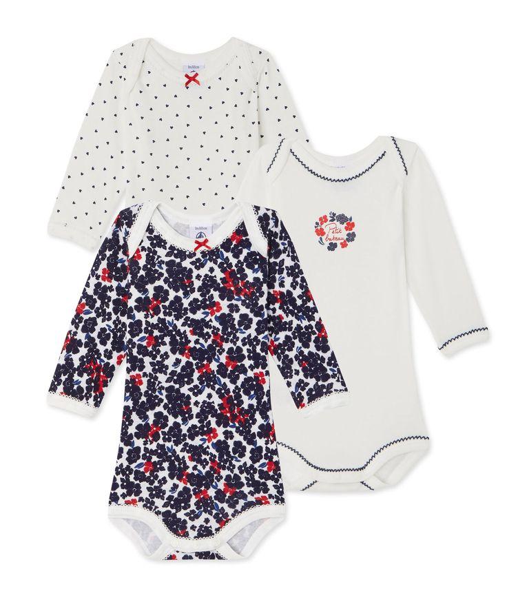 Lot de 3 bodies bébé fille manches longues Blanc. Retrouvez notre gamme de vêtements et sous-vêtements pour bébé, enfant, mode femme et homme.