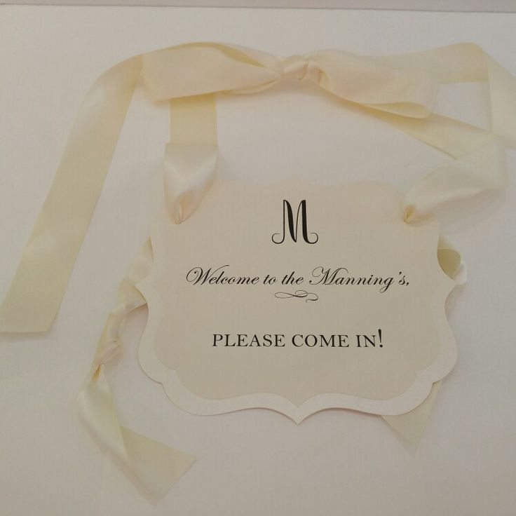 #wedding sign prepared as a custom door sign. Beautiful in shimmery cream, black font and cream ribbon.