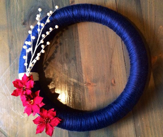 Christmas Yarn Wreath 16 In Blue Red and White