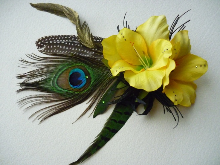 Sunshine Dancer Hair Clip - with Peacock Pheasant & Parrot feathers - Tribal Fusion Bellydance Fae Faery Wedding Boho Gypsy. £14.95, via Etsy.