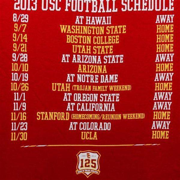 USC Trojans 2013 Football Schedule T-Shirt - Cardinal
