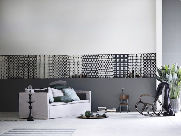: Living Rooms, Living Spaces, Wall Murals, Interiors Design, Grey Wall, Black White, Wall Treatments, Spring Summ 2013, Libraries Rooms