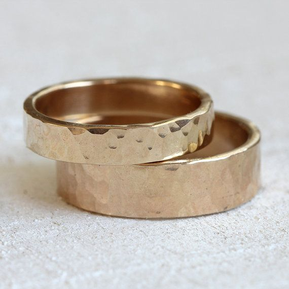 Wedding ring set 14k gold hammered wedding ring by PraxisJewelry, 2 ring set: $790.00
